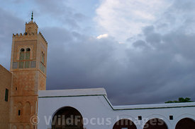 The minaret of the Mosque of the Barber. Kairouan, Tunisia; Landscape