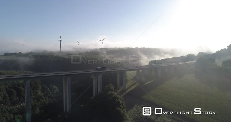 Germany Autobahn Bridge and Wind Turbine Landscape