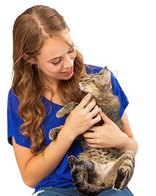 Teenager Holding Rescue Cat