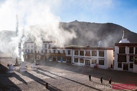 Elevated view of courtyard of Samye monastery, Tibet