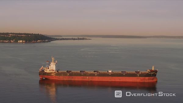 Seattle, Washington Aerial view of ship in Puget Sound.  Shot with Cineflex and RED EpicW Helium.