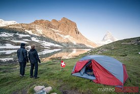 Hikers camping near the Riffelsee, Matterhorn, Switzerland