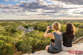 Tourists at the mayan ruins of Ek Balam, Yucatan, Mexico