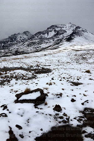 Puna grassland and Cerro Sora Patilla after winter snowfall, Cordillera Real, Bolivia