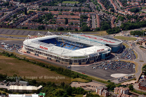 Coventry Ricoh Areana, home of Coventry Football Club. Aerial photo.