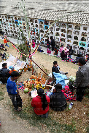 People in cemetery for farewell ceremonies for souls of the deceased during Todos Santos festival, La Paz, Bolivia