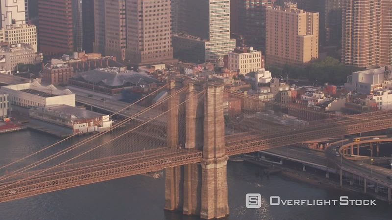 New York City Aerial view of Brooklyn Bridge and Manhattan.  Shot with Cineflex and RED EpicW Helium.