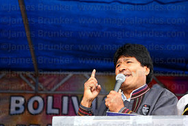 Bolivian president Evo Morales speaks at an event to celebrate Bolivia rejoining the 1961 UN Single Convention on Narcotic Drugs, La Paz, Bolivia
