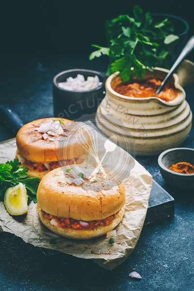 Spicy Pav Bhaji Masala filled between the buttered slider buns.
