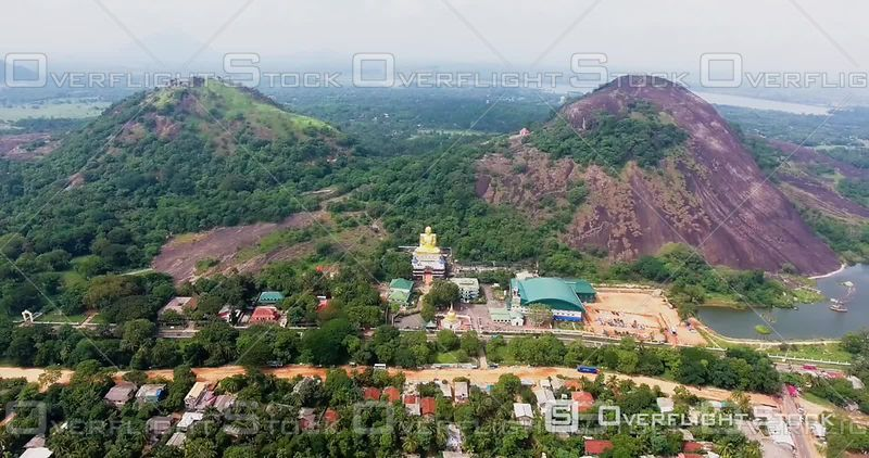 Aerial View of the Famous Buddha at Dambulla Golden Temple, Filmed by Drone, Sri Lanka
