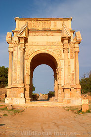 LIBYA: Leptis Magna - Arch of Septimus Severus and down the Cardo