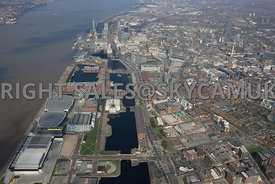 Liverpool high level view of The Baltic Triangle development area of Liverpool City Centre and Albert Dock with Liverpool City in the background