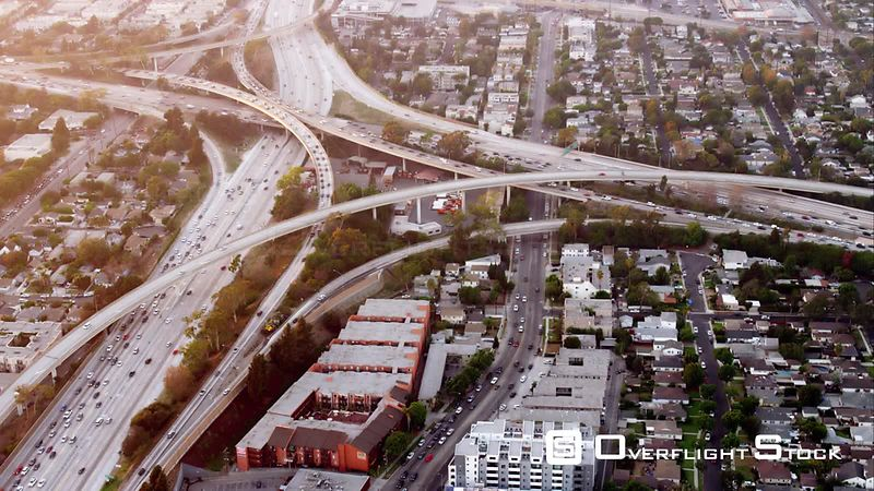 Aerial View Of The I405 And I10 Freeway Intersection, One Of The Original 'Spaghetti Junctions', RED R3D 4k California