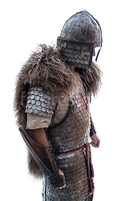 A wealthy Viking in armour and fur – shot from eye level.