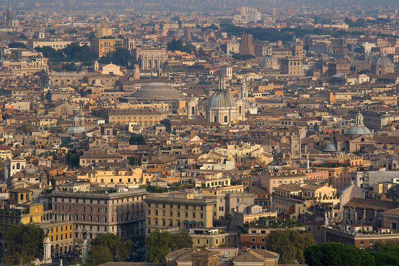 View of the city of Rome from the Dome of St Peters Basilica, Rome, Italy, October 2007