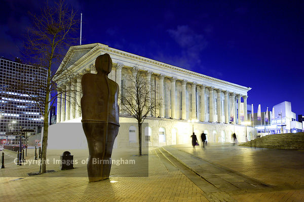 The Birmingham Town Hall located in Victoria Square, shown after its refurbishment in 2007. Iron Man statue in the foreground