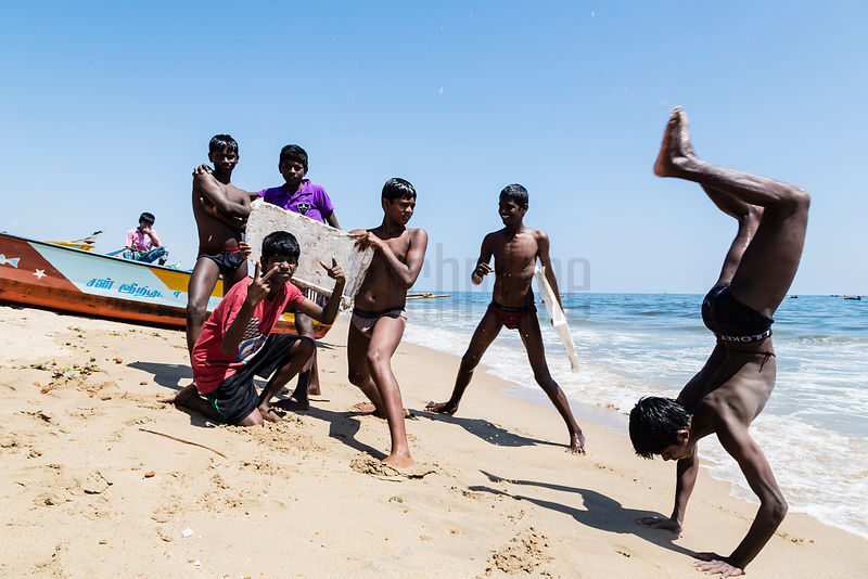 Local Boys Performing on Marina Beach