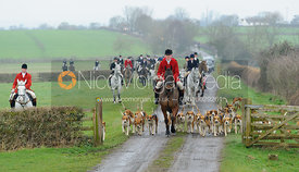 The Belvoir hounds arrive at the meet with Harry Horton - The Belvoir Hunt at Sheepwash 31/12