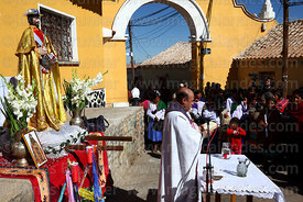 Priest giving mass for San Bartolome at start of Chutillos festival, Potosí, Bolivia