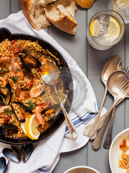 Seafood Paella with Prawns and Mussels