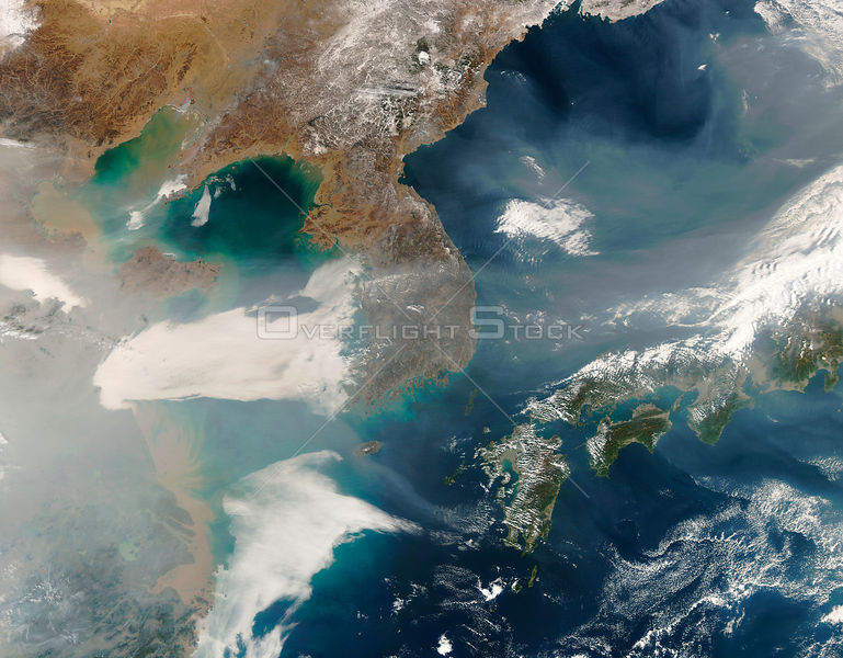 EARTH Eastern Asia -- 06 Feb 2007 -- On February 6, 2007, thick haze blew across the Yellow Sea and the Korean Peninsula toward Japan