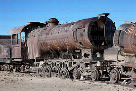 Old steam train in train cemetery, Uyuni, Bolivia