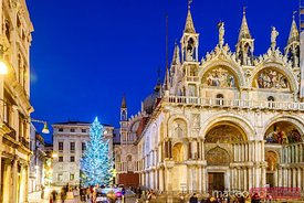 Christmas tree in St Marks square, Venice, Italy
