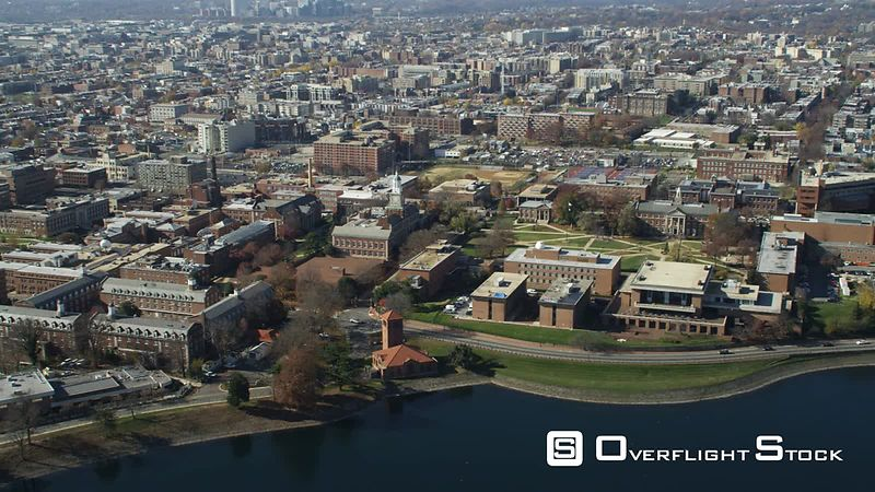 Approaching and rotating over Howard University's Upper Quadrangle in Washington DC, McMillan Reservoir in foreground. Shot in November
