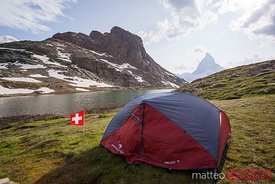 Camping near the Riffelsee, Matterhorn, Switzerland