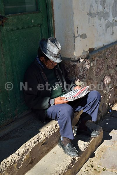 Argentina, Ju Juy province, Altiplano, Man reading
