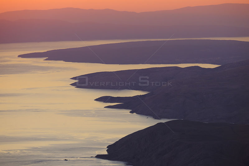 View from North Velebit National Park over island of Krk and Istria at dusk, Velebit Nature Park, Dalmatian coast, Adriatic sea, Croatia, August 2011