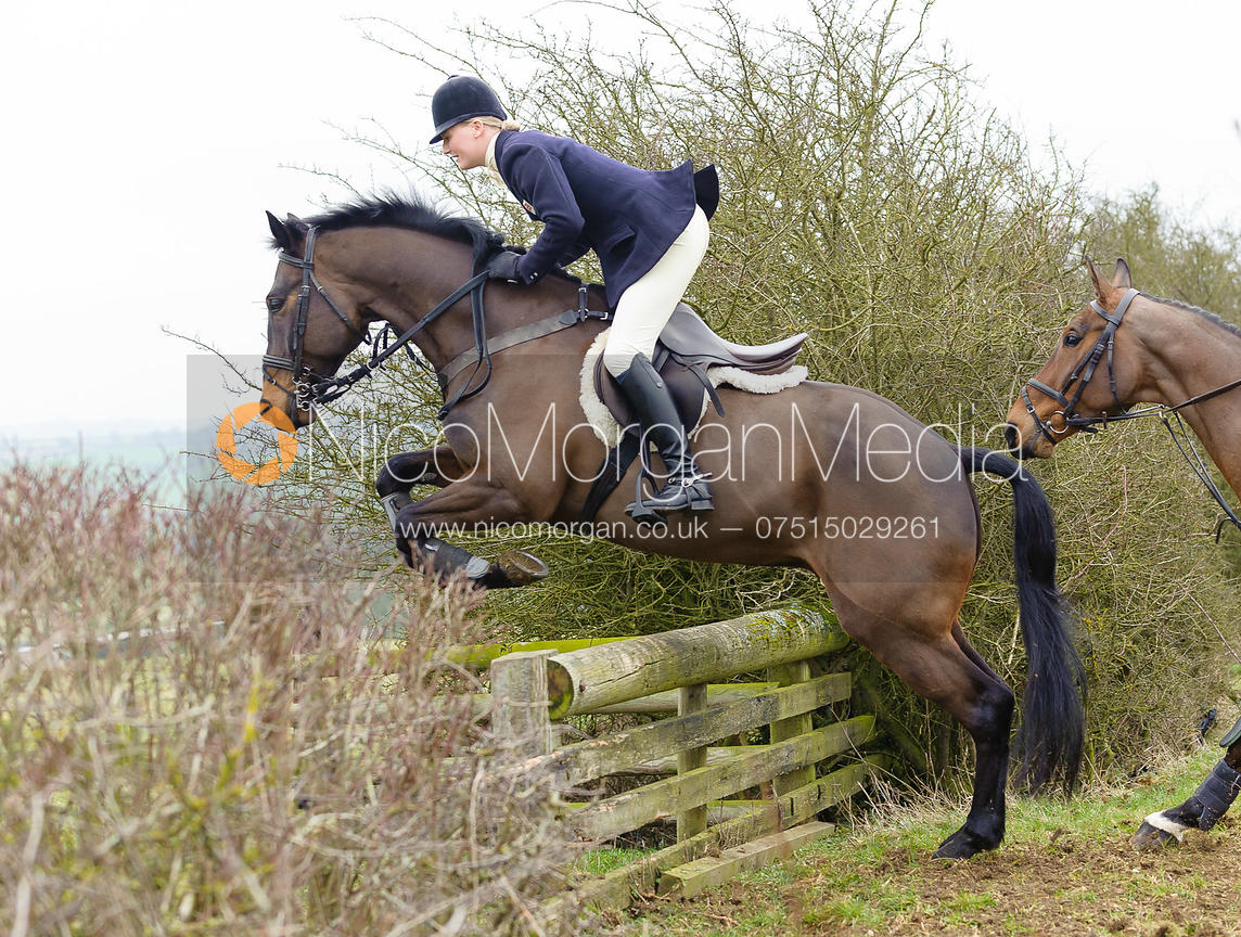 Gaby Cooke jumps a hedge away from the meet at Ladywood Lodge