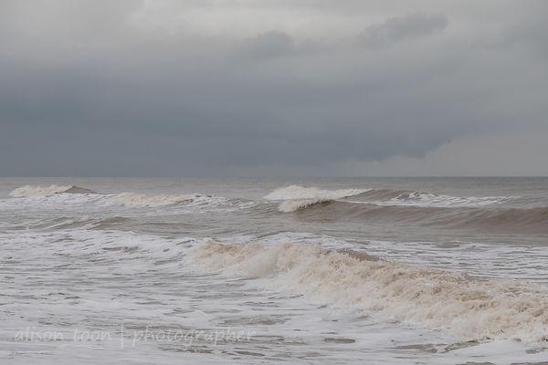 Seascape; dramatic, overcast