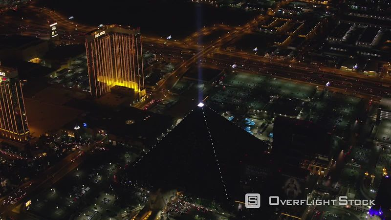 Las Vegas, Nevada Looking down at light on top of Luxor pyramid.  Shot with Cineflex and RED EpicW Helium.