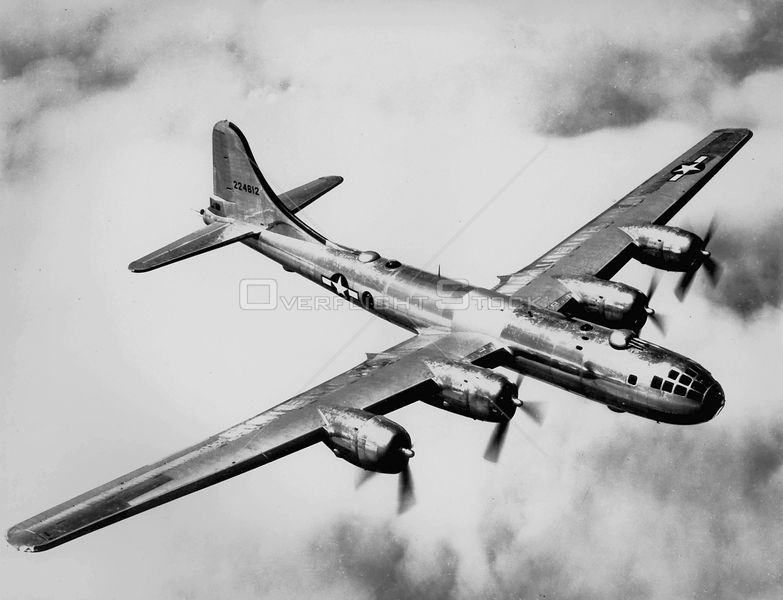 EUROPE -- 1945 -- Boeing B-29 'Superfortress' heavy bomber. This is the same type of aircrft which dropped the two Atomic bombs on Japan in 1945.