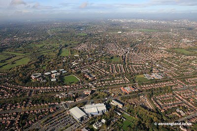 aerial photograph of Parrs Wood East  Didsbury, Manchester England UK