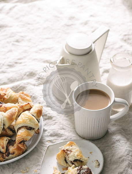Chocolate Croissants and Coffee served in bed.