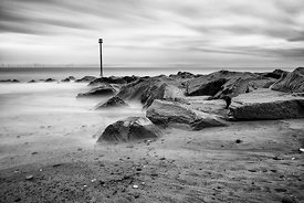 Landscape | Black and white canvas wall art | Peace in the bay of rocks