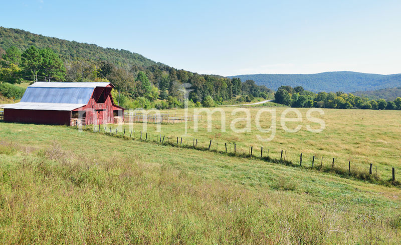 Red Barn in Peaceful Valley