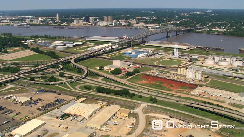 Flying over Mississippi River near Huey P. Long Bridge from East to West Baton Rouge.