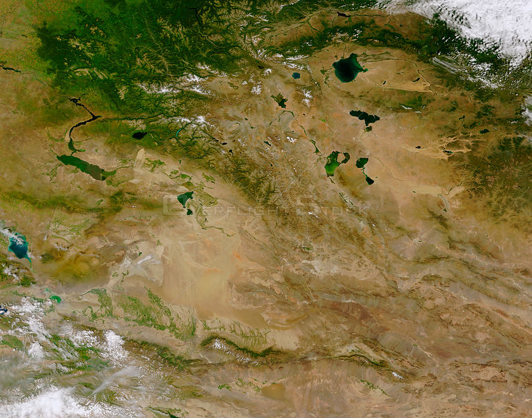 EARTH Central Asia -- The rugged and remote Altai Mountains (running diagonally from the upper left to lower right of the image)
