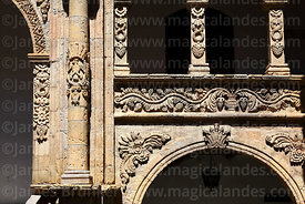 Detail of stone carvings in courtyard of Casa de los Marqueses de Villaverde, La Paz, Bolivia