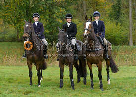 Hermione Brooksbank, Isobel McEuen, Amelia Leeming at the meet - Cottesmore Hunt Opening Meet, 24/10/2017