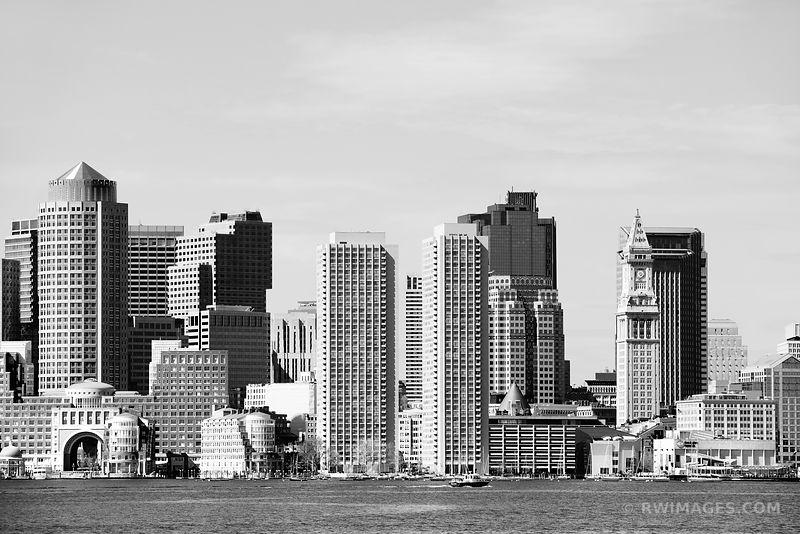 Boston skyline black and white