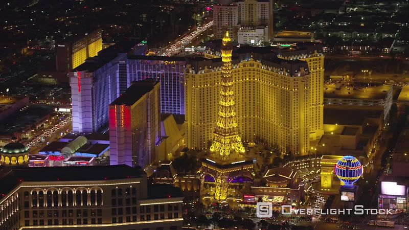Las Vegas, Nevada Aerial view of Paris hotel and casino.  Shot with Cineflex and RED EpicW Helium.