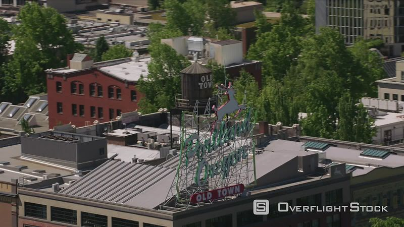 Portland, Oregon Daytime aerial shot of Portland, Oregon sign.  Shot with Cineflex and RED EpicW Helium.
