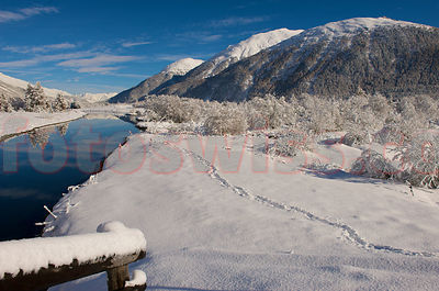Winter Day at the River Inn Engadin Valley photos