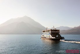 Ferry boat near Bellagio town, lake Como, Italy