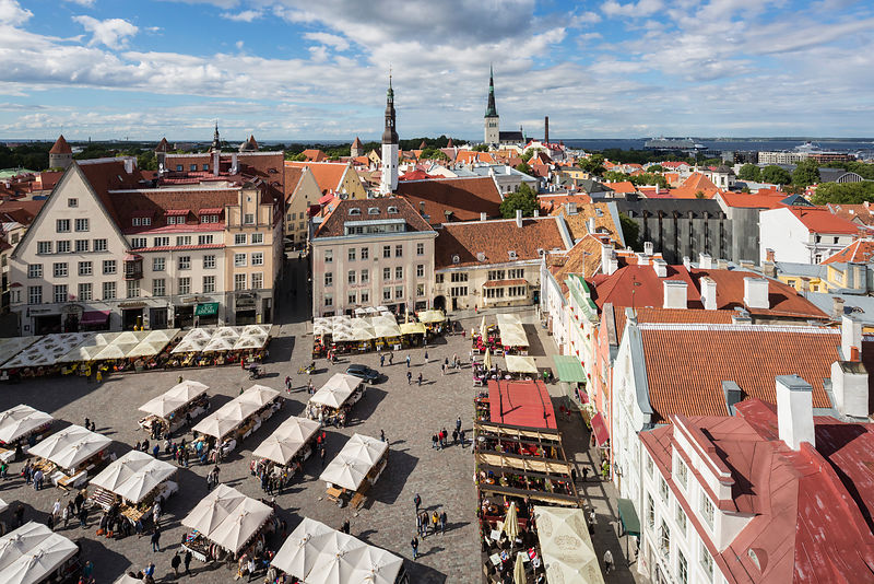 Elevated View of the Old City of Tallinn from the Tower of the City Hall