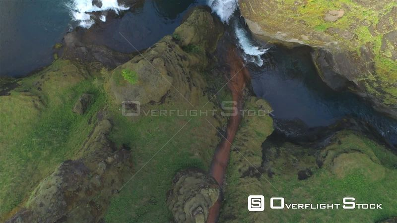 Colorful Volcanic River Canyon Looking Down, Fjadragljufur Iceland Aerial